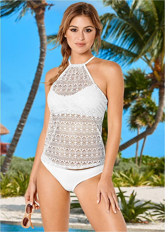 CROCHET HALTER TANKINI,LOW RISE BIKINI BOTTOM,SCOOP FRONT BIKINI BOTTOM,RUFFLE EDGE LOW RISE BOTTOM,MESH WRAP SKIRT