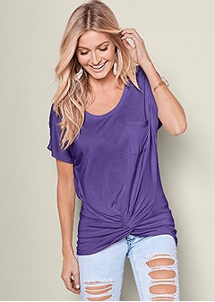 twisted knot detail tee