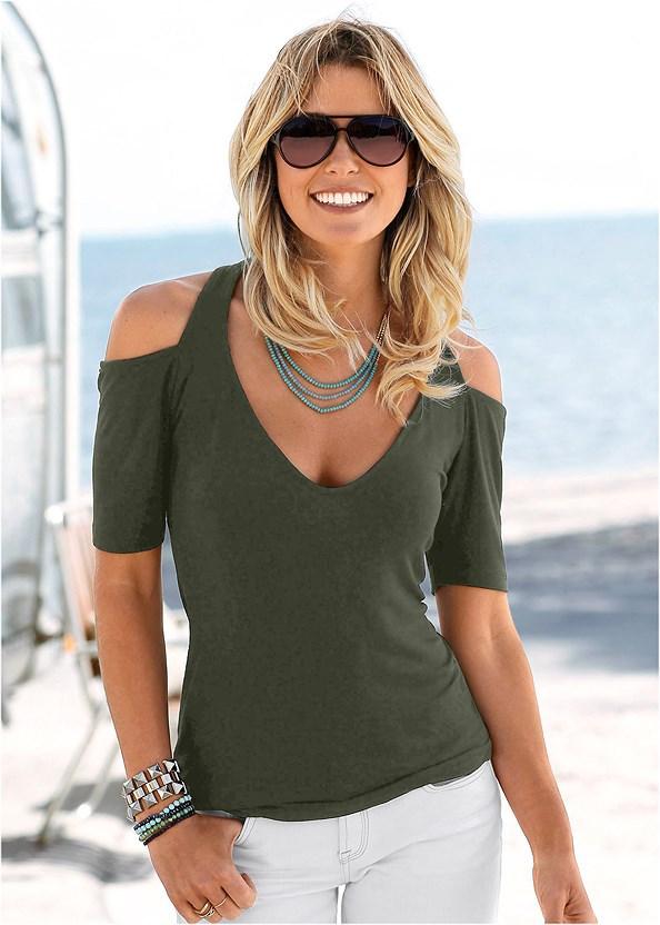 Cold Shoulder Top,Cut Off Jean Shorts,Strap Solutions