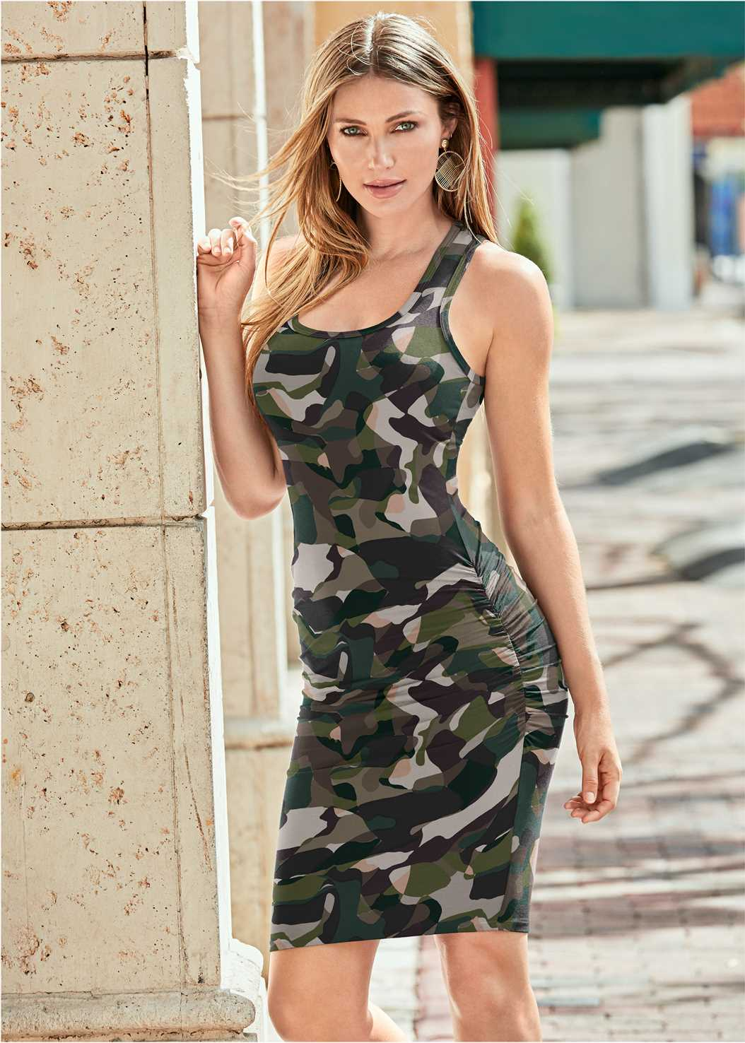 Sleeveless Ruched Bodycon Midi Dress,Push Up Bra Buy 2 For $40,Confidence Shaping Romper,Ribbed Hooded Duster,Jean Jacket