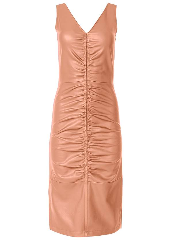 Alternate View Faux Leather Ruching Dress