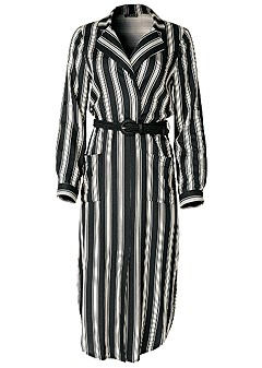 plus size belted striped shirt dress