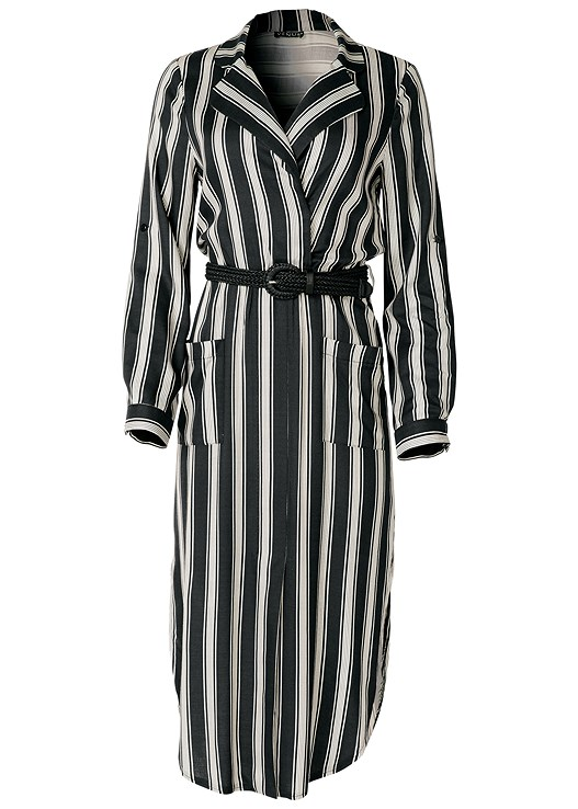 Plus Size Belted Striped Shirt Dress Venus