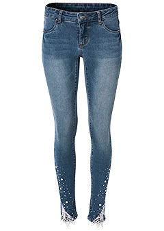 plus size embellished jeans