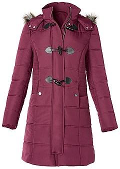 plus size faux fur detail puffer coat