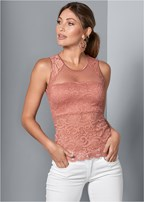 mesh inset lace top