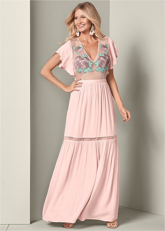EMBROIDERED MAXI DRESS,HIGH HEEL STRAPPY SANDALS,BEADED FRINGE EARRINGS
