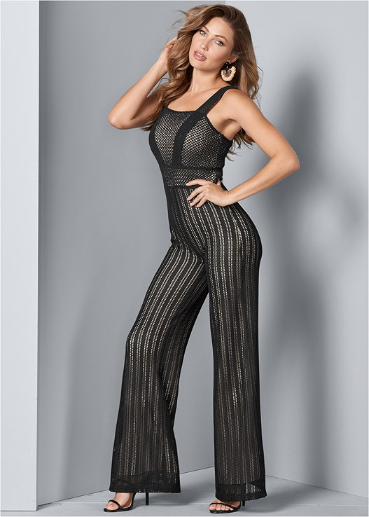 KNIT JUMPSUIT,SATIN LACE BRA/THONG SET,HIGH HEEL STRAPPY SANDALS