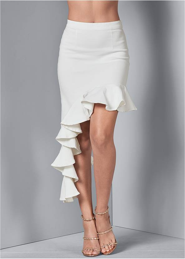 Front View Ruffle Jean Skirt