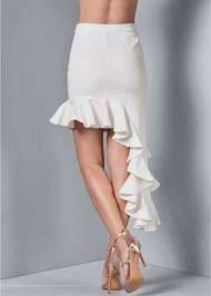 Back View Ruffle Jean Skirt