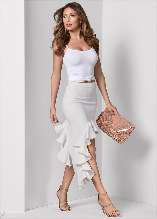 RUFFLE JEAN SKIRT,SEAMLESS CAMI,STUDDED STRAPPY HEELS,WRAP AROUND HEELS,HAMMERED METAL EARRINGS