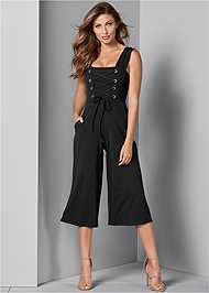 Front View Lace Up Culotte Jumpsuit