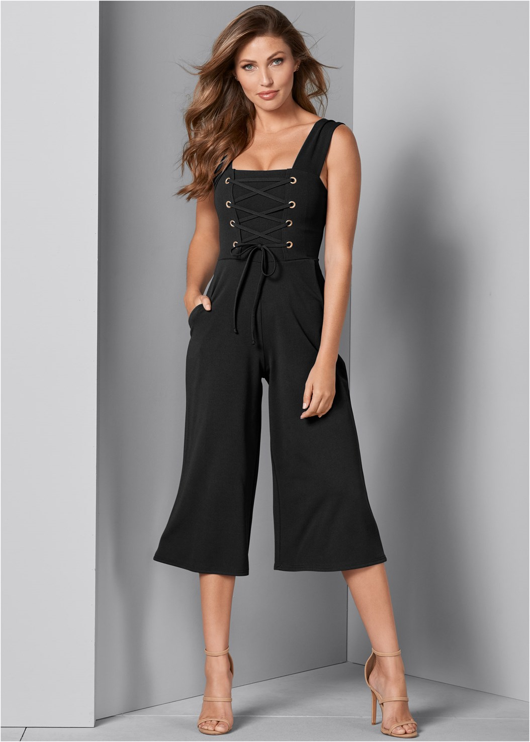Lace Up Culotte Jumpsuit,High Heel Strappy Sandals