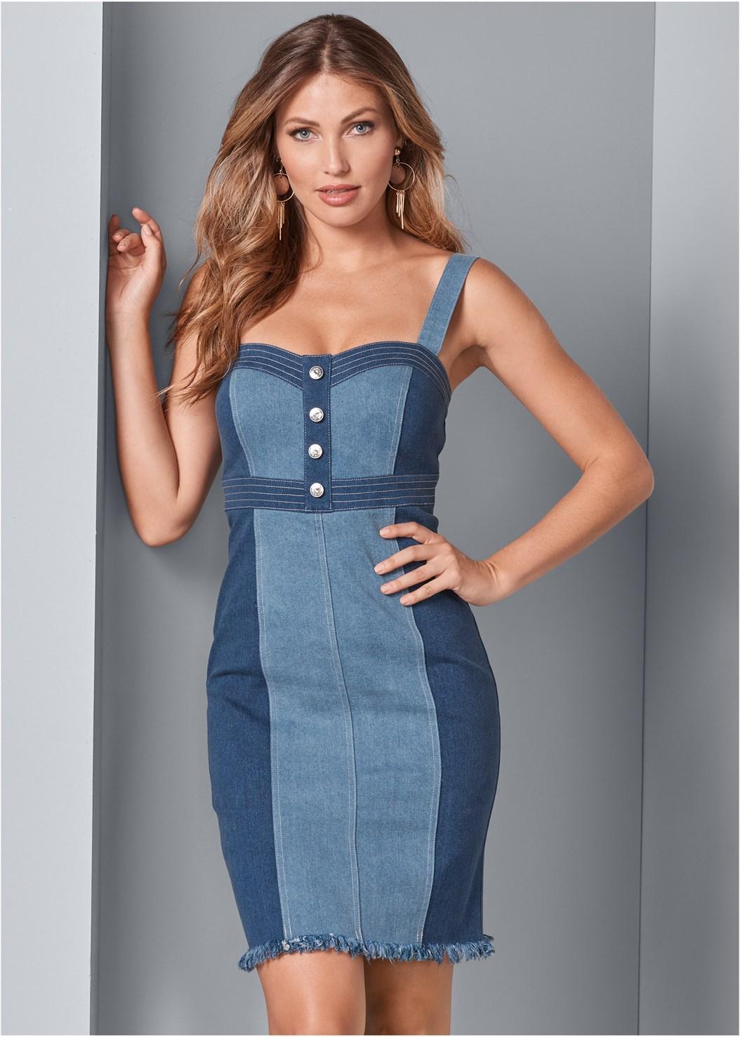 Button Detail Denim Dress,Raffia Detail Heels,Denim Handbag