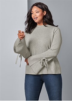 plus size trumpet sleeve sweater