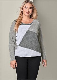 plus size color block sweater