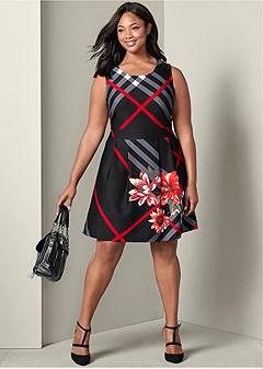 plus size printed plaid dress