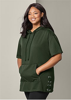 plus size grommet french terry tunic