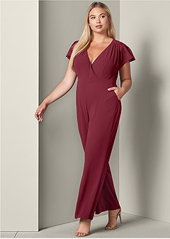 plus size cross front jumpsuit