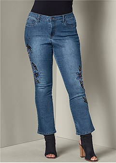 plus size hand embellished jeans