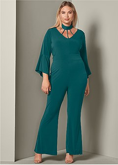 plus size strappy detail jumpsuit