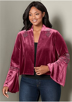 plus size embellished velvet jacket