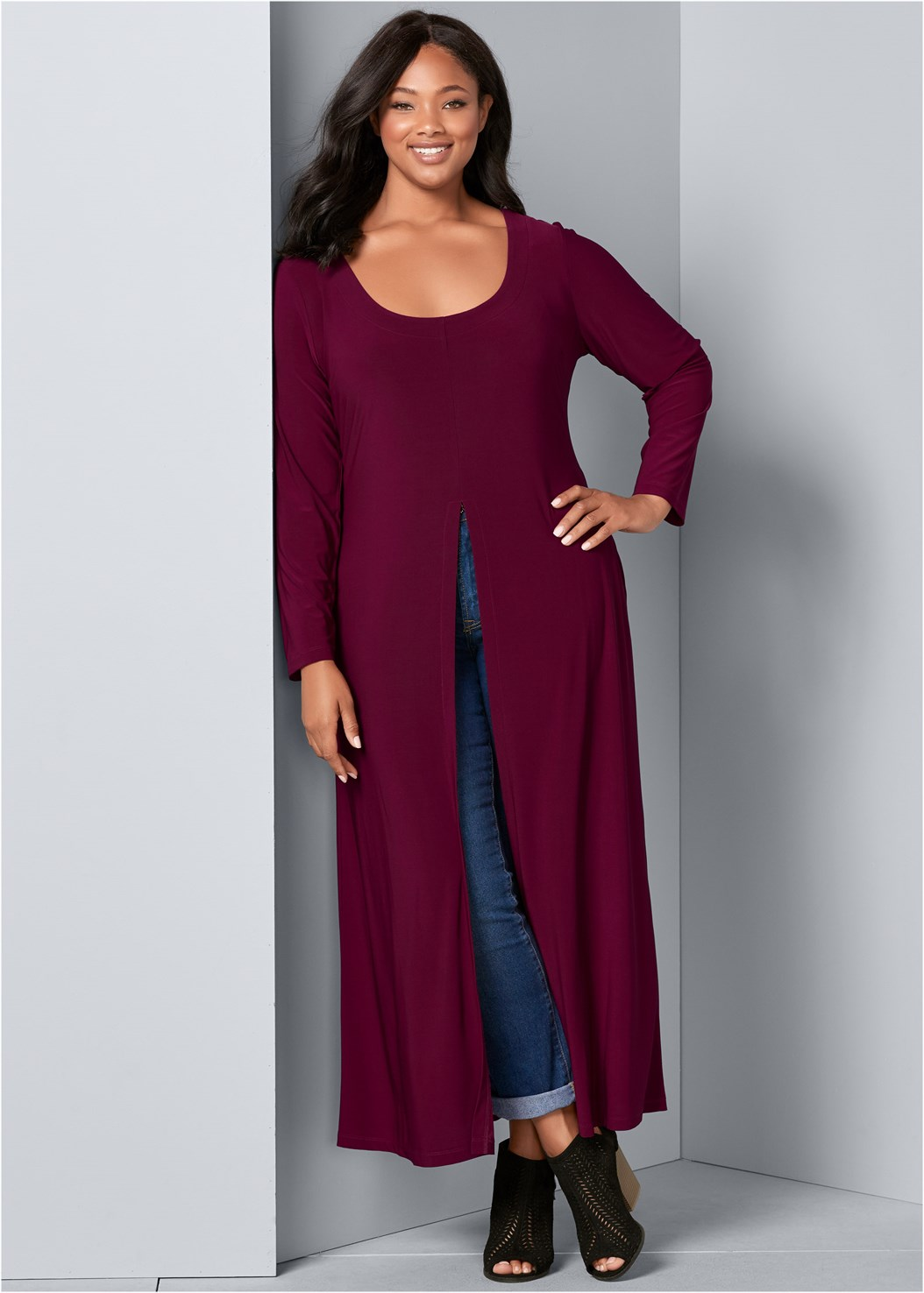 Maxi Top,Mid Rise Color Skinny Jeans