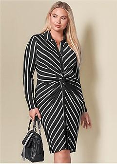 plus size knot detail shirt dress