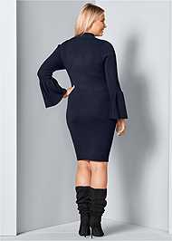 Back View Sleeve Detail Sweater Dress