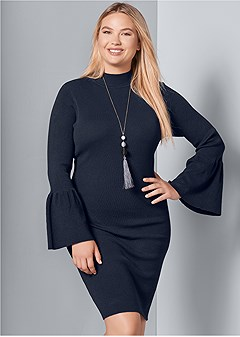 plus size sleeve detail sweater dress