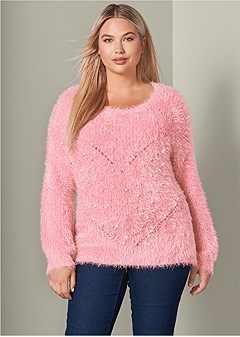 plus size pearl detail cozy sweater