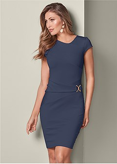 trim detail bodycon dress