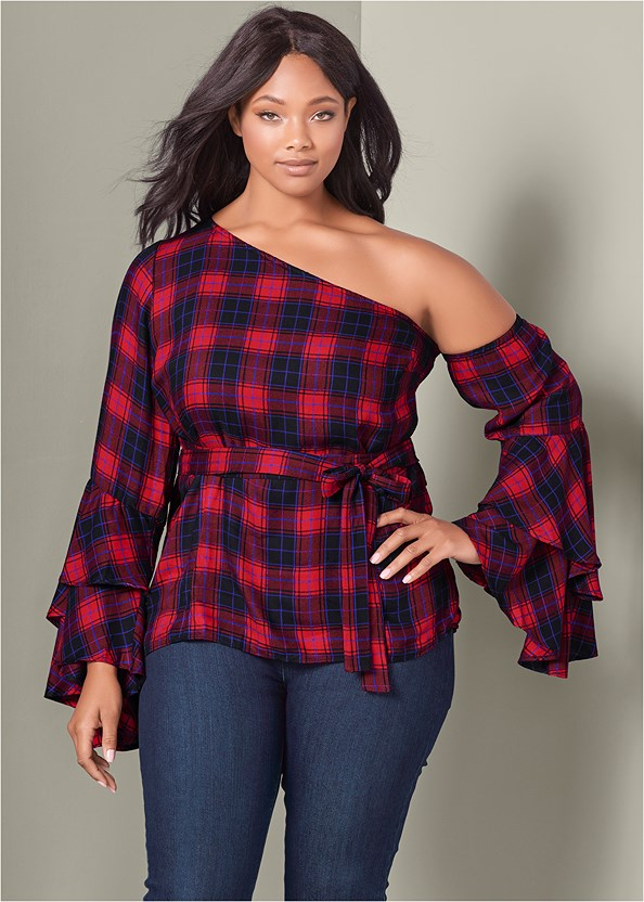 Ruffle Off The Shoulder Top,Mid Rise Slimming Stretch Jeggings