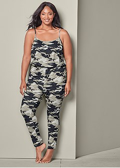 plus size camo lounge jumpsuit