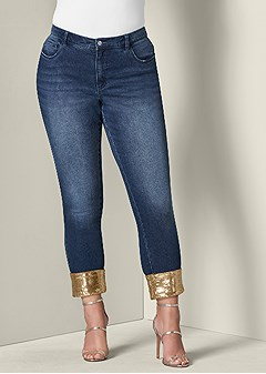 plus size sequin cuff jeans