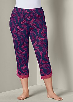plus size lace trim cropped pant