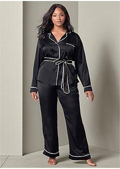 plus size satin pajama set