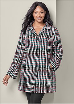 plus size houndstooth coat