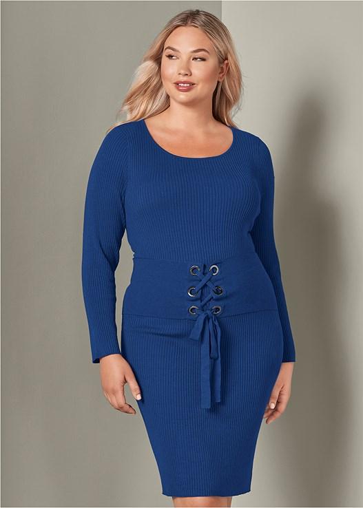 CORSET DETAIL SWEATER DRESS