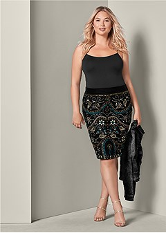 plus size embellished midi skirt