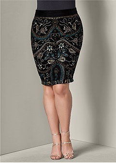plus size embellished midi skirt