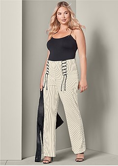 plus size lace up detail pants
