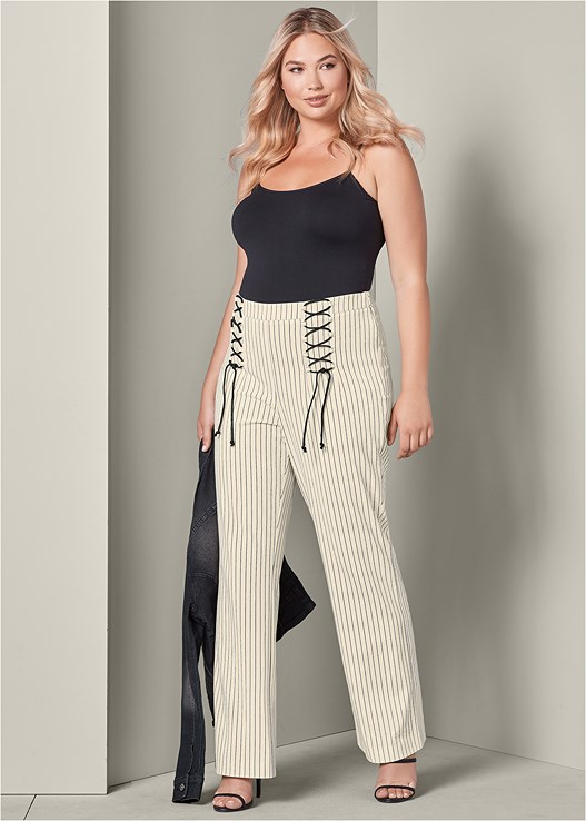 LACE UP DETAIL PANTS,SEAMLESS CAMI,JEAN JACKET,HIGH HEEL STRAPPY SANDALS