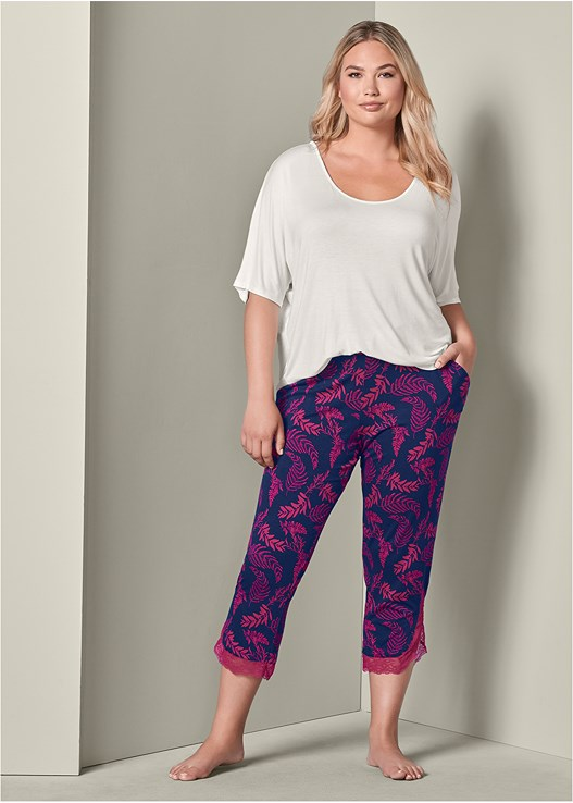 LACE TRIM CROPPED PANT,SEAMLESS CAMI