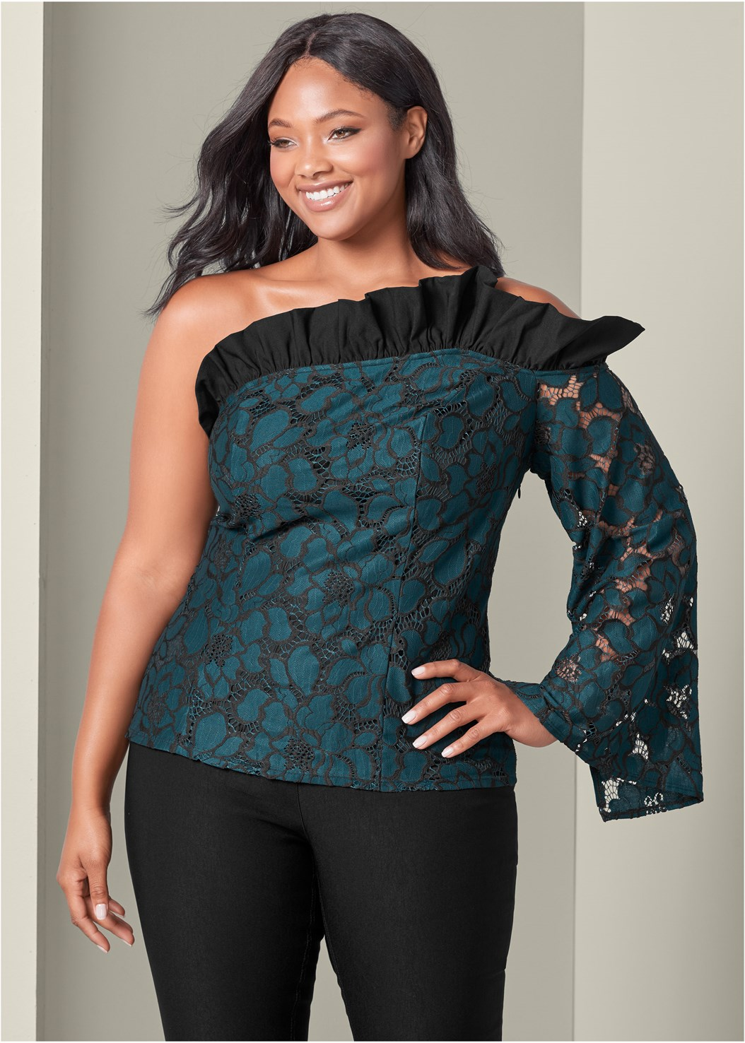 Cold Shoulder Ruffle Top,Mid Rise Slimming Stretch Jeggings,High Heel Strappy Sandals