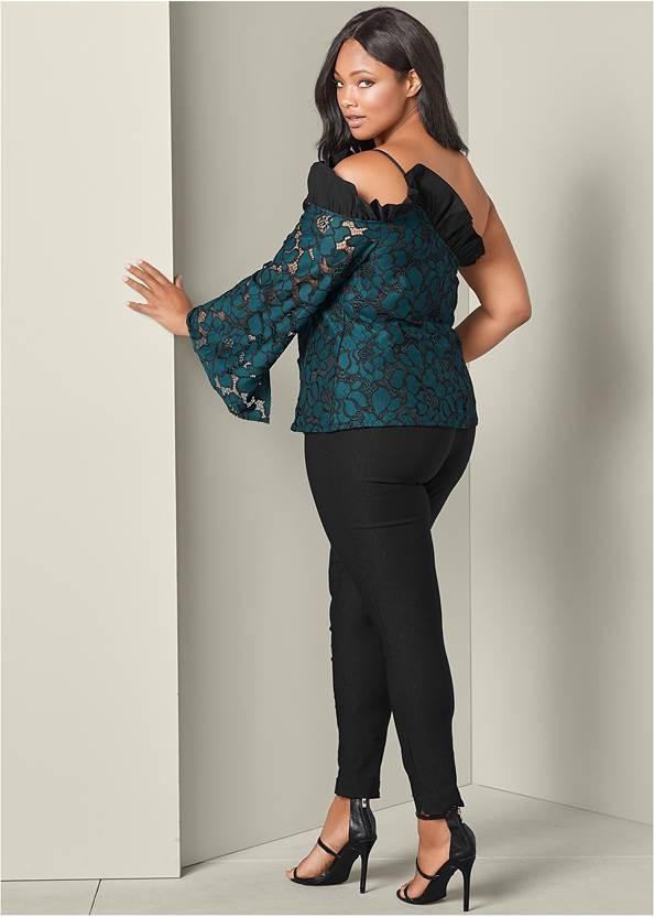 Back View Cold Shoulder Ruffle Top