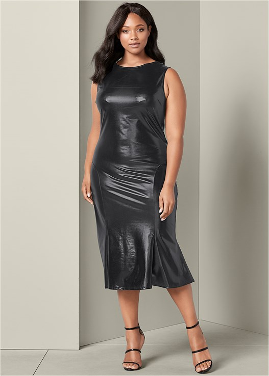 Black FAUX LEATHER MIDI DRESS from VENUS