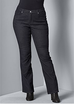 plus size velvet stripe pants