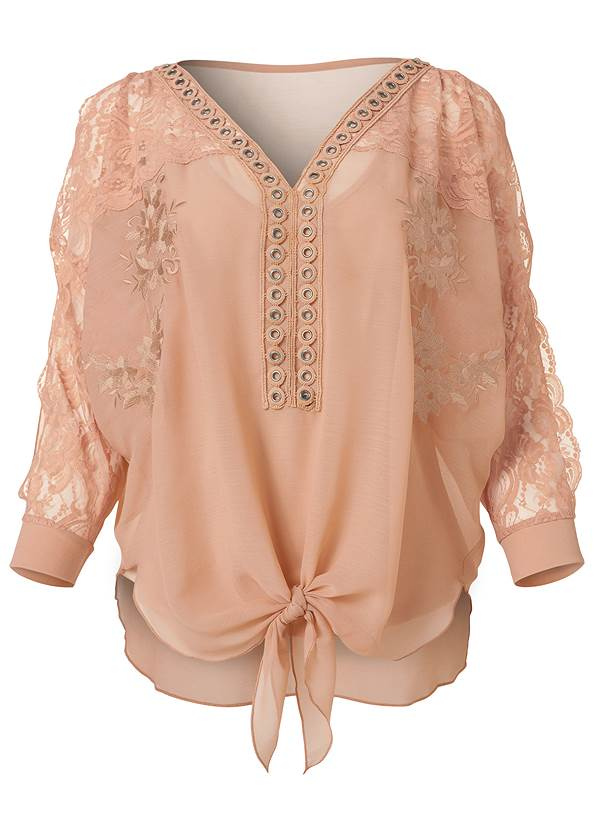 Alternate View Lace Detail Tie Front Top
