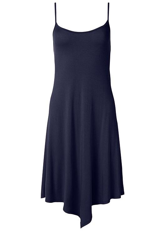 STRAPPY SWING DRESS,LACE FRONT BLOCK HEELS